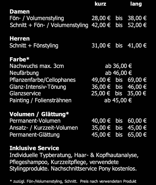 Preisliste Harms Friseure Berlin